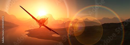 Fototapeta sun, sand and plane obraz