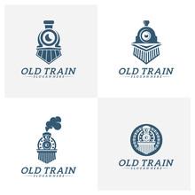 Set Of Classic Train Logo Concept, Locomotive Logo Design Vector Template, Creative Design, Icon Symbol