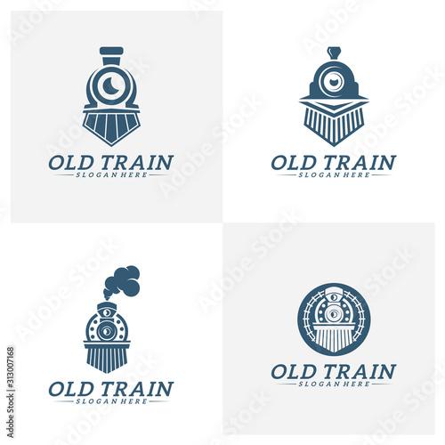 Carta da parati Set of Classic train logo concept, Locomotive logo design vector template, Creat
