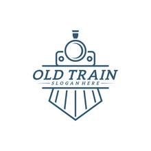 Classic Train Logo Concept, Locomotive Logo Design Vector Template, Creative Design, Icon Symbol