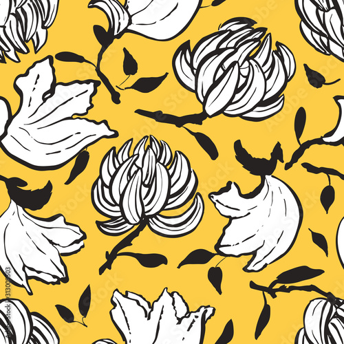 Bold vector seamless hand drawn  artsy floral pattern with exotic tulip tree tropical flowers Wallpaper Mural