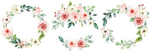 Wreaths, Floral Frames, Watercolor Flowers Pink Roses, Illustration Hand Painted. Isolated On White Background. Perfectly For Greeting Card Design.