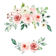 Wreath, Floral Frame, Watercolor Flowers Pink Roses, Illustration Hand Painted. Isolated On White Background. Perfectly For Greeting Card Design.
