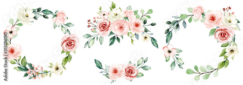 Wreaths, floral frames, watercolor flowers pink roses, Illustration hand painted. Isolated on white background. Perfectly for greeting card design. #313016190