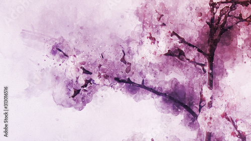 Abstract Digital High Resolution Watercolor Painting Inspired from Apricot Flower Blossom in Spring with Hand Drawn Watercolor Brush Strokes and Watercolor Splashes on Realistic Paper Texture Canvas Print