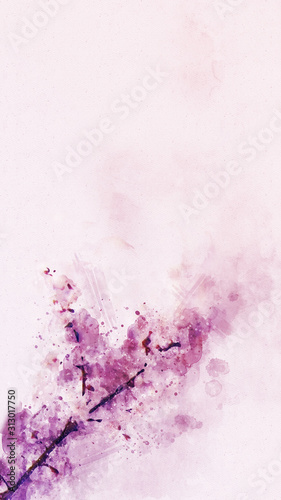 Abstract Digital High Resolution Watercolor Painting Inspired from Apricot Flower Blossom in Spring with Hand Drawn Watercolor Brush Strokes and Watercolor Splashes on Realistic Paper Texture Wallpaper Mural