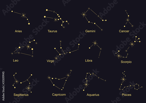 Photo Constellations - signs of the zodiac, golden on a black background, with names