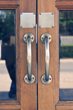 Copper Handle On Antique Door,...