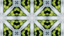 Green And Silver Kaleidoscope Sequence Patterns. Abstract Motion Graphics Background. Or For Yoga, Clubs, Shows, Mandala, Fractal Animation. Seamless Loop.
