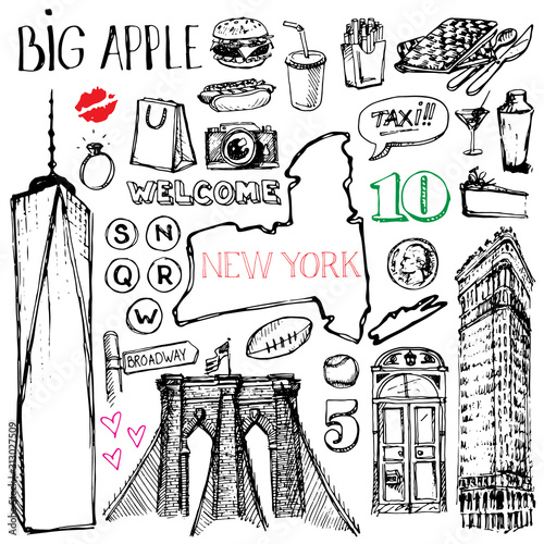 Fotomural  New York, United states of America set of sketch doodle travel symbols of city s