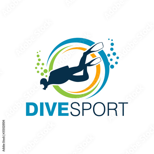 Fototapeta Scuba Diving Logo Design Vector Template obraz