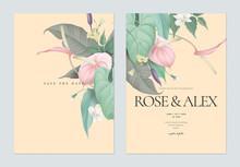 Floral Wedding Invitation Card Template Design, Anthurium Flowers With Leaves On Light Orange