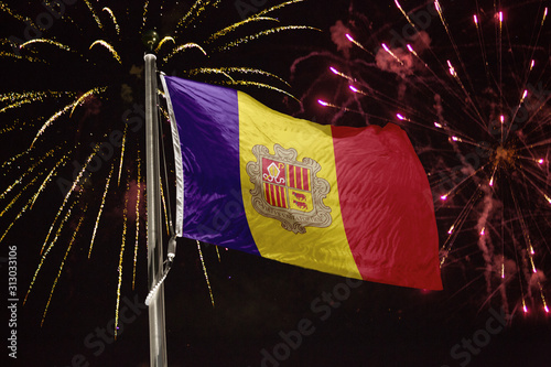 Andorra flag blowing in the wind at night Canvas Print
