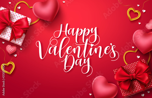Fototapeta Happy valentines day vector banner background. Valentines day greeting card with typography and elements like gifts, red heart shapes and jewelries in red background . Vector illustration obraz