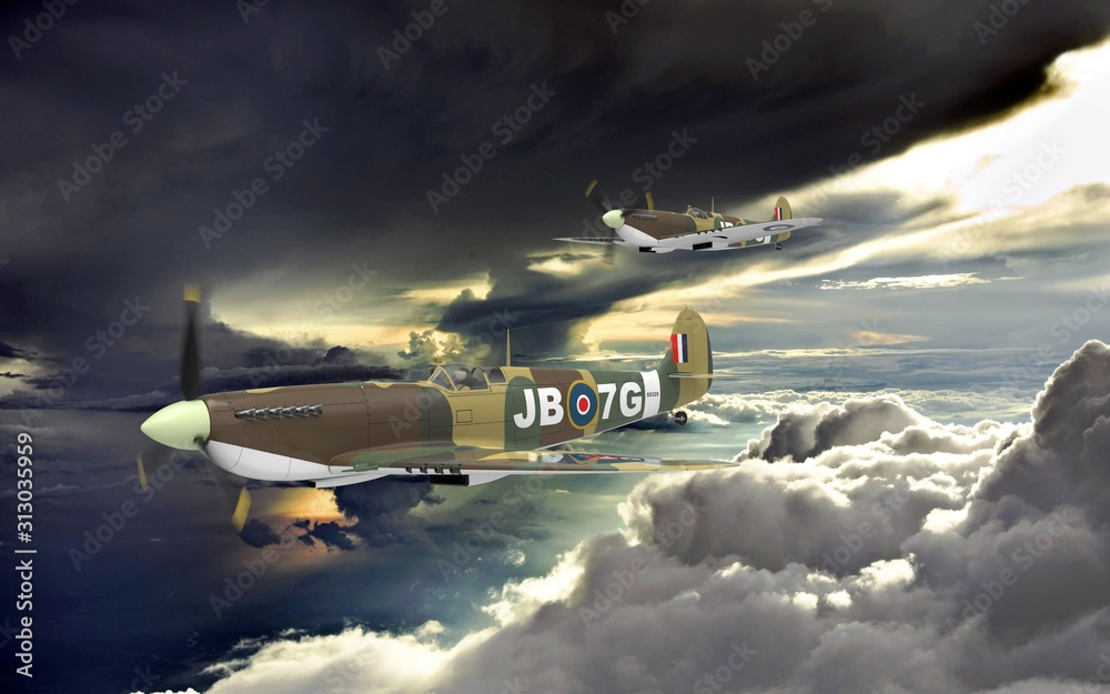 Fototapeta 3d rendering of two world war two airplanes flying together in the clouds