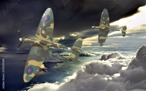 3d rendering of two world war two airplanes flying together in the clouds Canvas-taulu