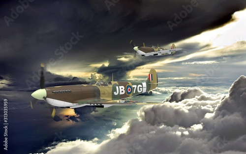 Valokuvatapetti 3d rendering of two world war two airplanes flying together in the clouds