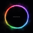 canvas print picture - Abstract circle lines round ring frame colorful rainbow light flowing isolated on black background with empty space for text.