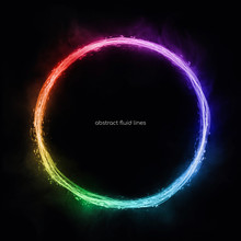 Abstract Circle Lines Round Ring Frame Colorful Rainbow Light Flowing Isolated On Black Background With Empty Space For Text.