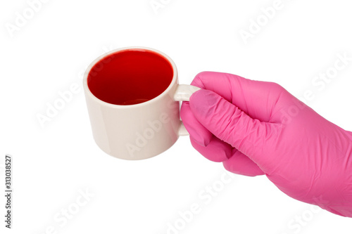 Valokuva Woman holding an empty cup on a white isolated background