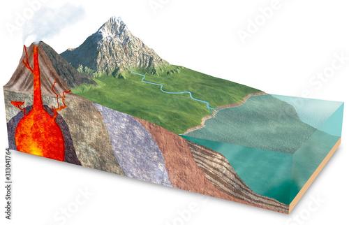 Vászonkép 3d terrain slice