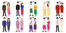 Set Of 20 Asian Men And Women Cartoon Characters In Traditional Costume With Flag Vector
