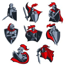 Knight Vector Icons Of Medieva...