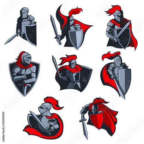 Cuadros en Lienzo Knight vector icons of medieval warriors with armour helmets, swords and shields, red capes and plumes