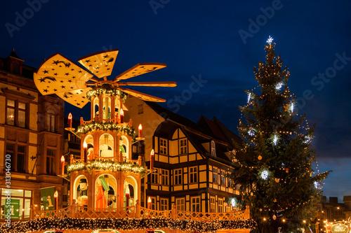 Photo Weihnachtsmarkt Quedlinburg Harz Abendstimmung