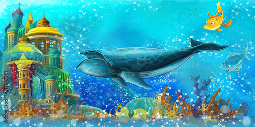 cartoon scene with fishes in the beautiful underwater kingdom coral reef - illustration for children