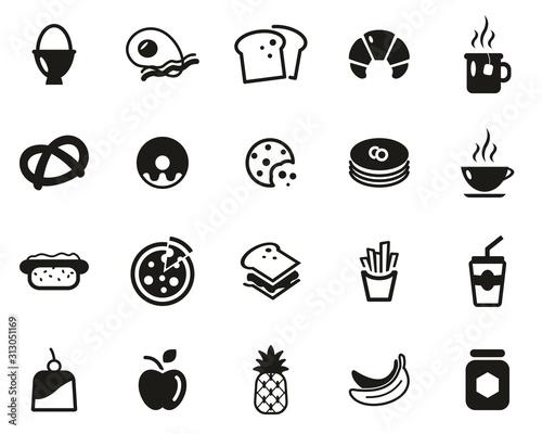 Fényképezés Breakfast Or Food Icons Black & White Set Big