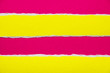 canvas print picture - Scarlet red sheet of cardboard with yellow torn horizontal paper stripes. Can be used for text.