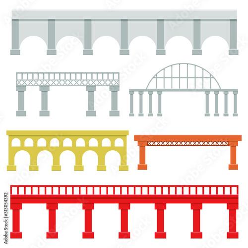 Bridges set vector design illustration isolated on white background Wallpaper Mural