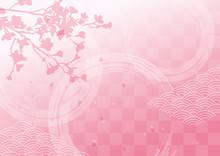 桜のシルエットとピンクの和柄