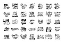 Set Of Hand Drawn Love Quotes....