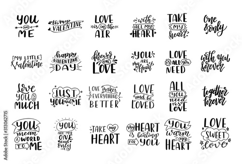 Set of hand drawn love quotes. Lettering about amour for poster, greeting card, banner. Calligraphy vector illustration