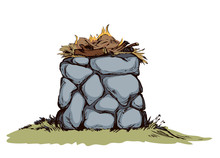 Stone Altar. Vector Drawing