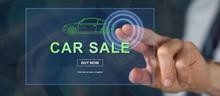 Man Touching A Car Sale Concept