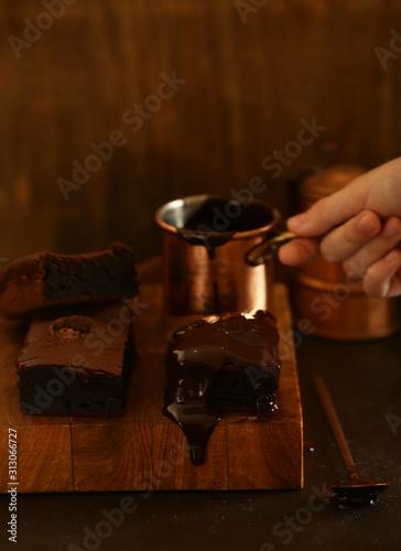 chocolate cake brownie for dessert, homemade cakes