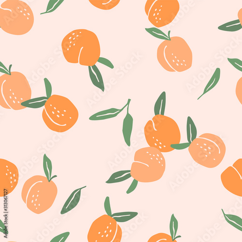 Cuadros en Lienzo Vector seamless pattern with peaches. Trendy hand drawn textures.