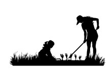 Vector Silhouette Of Gardener Works On Garden. Symbol Of Girl, Family, Mother, Child, Tool, Work, People, Field, Farm, Care.