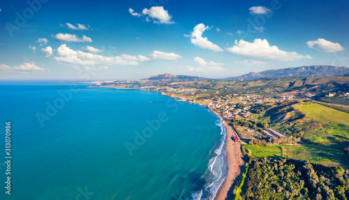View from flying drone. Aerial morning view of Sciacca town, province of Agrigento, southwestern coast of Sicily, Italy, Europe. Superb spring seascape of Mediterranean sea.