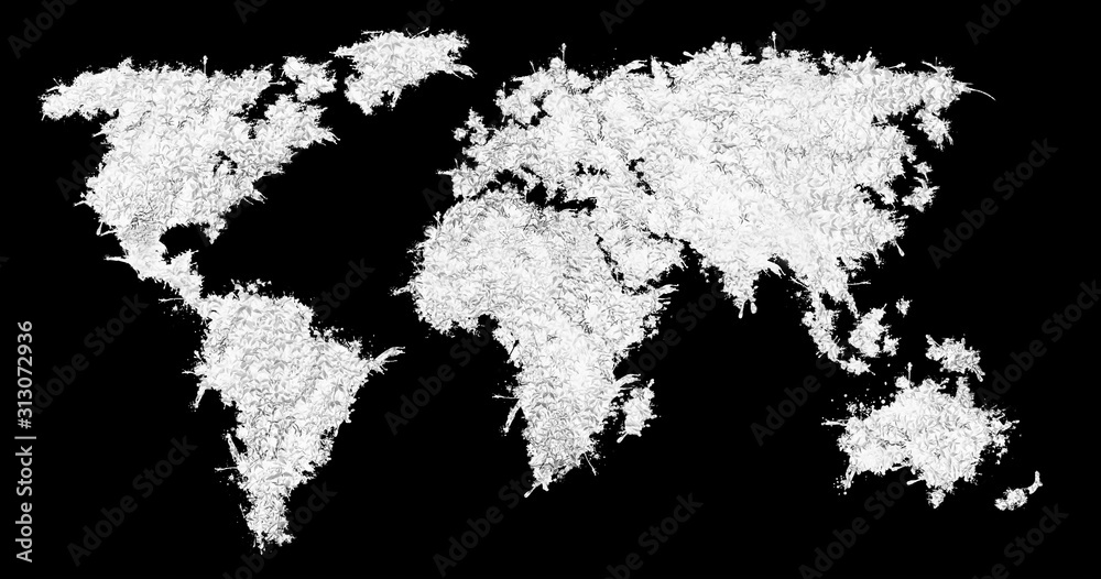Fototapeta World map from the white grass. Isolated on black background.