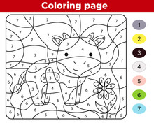 Number Coloring Page For Children. Cute Kawaii Farm Animal - Cow. Educational Game For Preschool Kids. Vector Illustration.