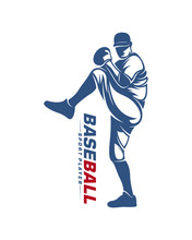 Baseball Player Vector Silhouette. Baseball Player Logo Design. Sport Club Logo Design.