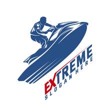 Jet Ski Sports Logo Vector, Extreme Jet Ski Design Vector Silhouette