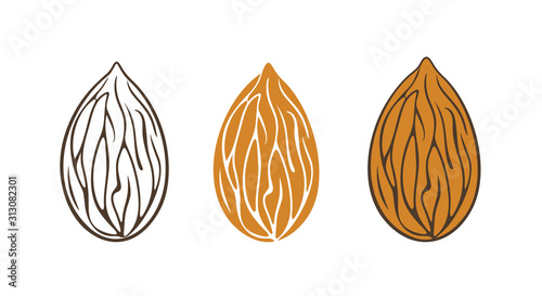 Photo Almond logo. Isolated almond on white background