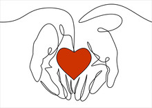 Continuous One Line Drawing. Abstract Hands And Man Holding Heart. Vector Illustration