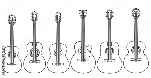 Photo Set of vector stringed musical instruments drawn by lines.