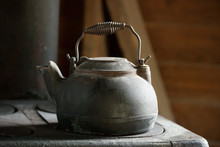 Old Cast Iron Kettle For A Woo...